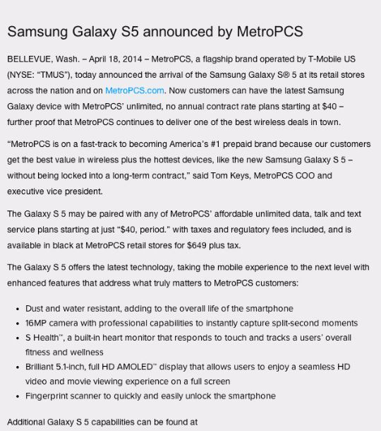 Galaxy-S5-Metro-Pcs-complete-news-release